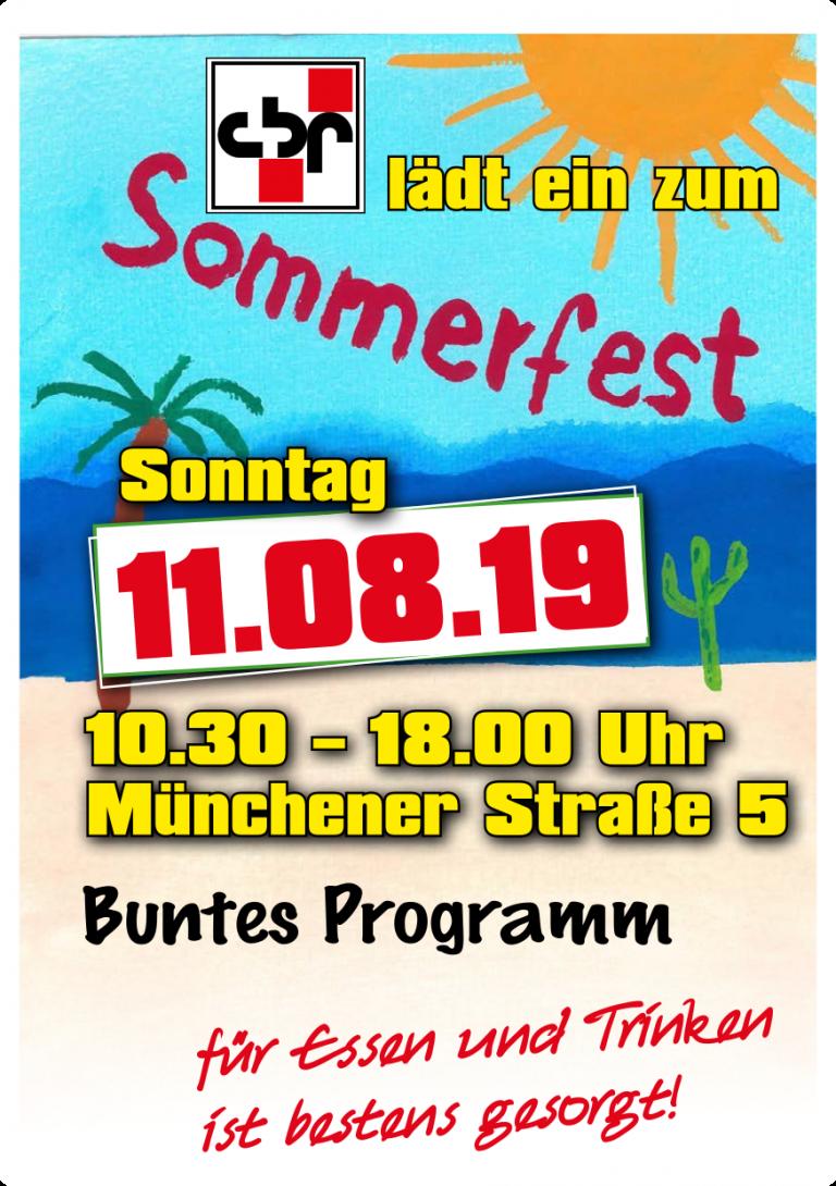 Flyer für das Sommerfest des cbf 2019